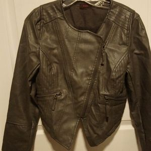 Leatherette Jacket Gray women's Medium